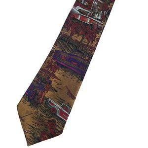 "Bugatchi ""Scenes from 1950s"" Graphic 100% Silk Tie"